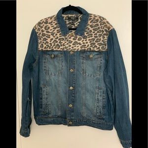 Cheetah print inset Denim Jacket